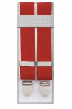 Plain Red Trouser Braces With Large Clips